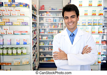 portret, samiec, farmaceuta, apteka