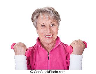 portret, starsza kobieta, wykonując