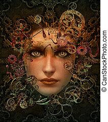 portret, steampunk, barwa, cg, 3d