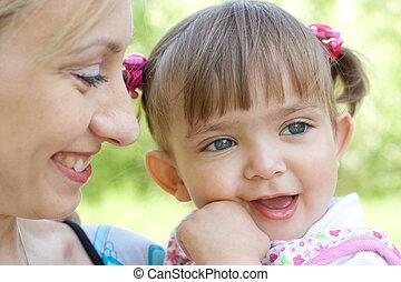 portret, szczęśliwy, córka, macierz
