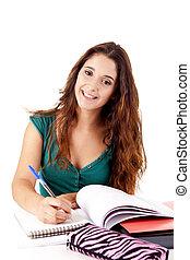portret, szczęśliwy, młody, student