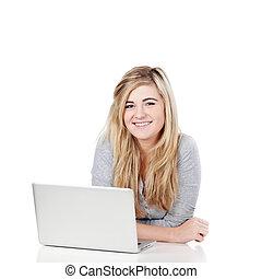 portret, teenage, laptop, dziewczyna, przypadkowy