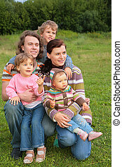 portret, trawa, piątka, rodzina