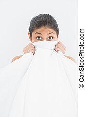 portret, twarz, kobieta, bedsheet, przykrycie