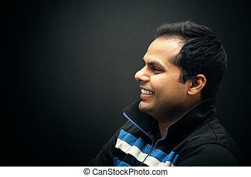 portret, uśmiechanie się, indianin, człowiek