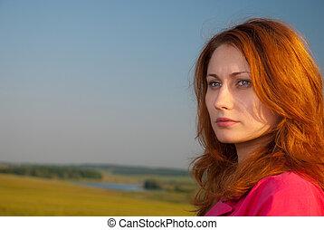 portret, zachód słońca