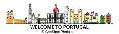 portugalia, punkty orientacyjny, sylwetka, wektor, banner., portugalczyk, cienki, miejski, podróż, kreska, płaski, cityscape, ikony, miasto skyline, szkic, illustrations.