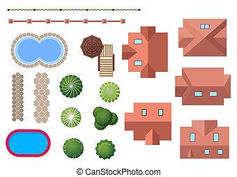 posiadanie, krajobraz, elementy, dom