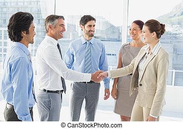 posiadanie, spotkanie, handlowy, employee's