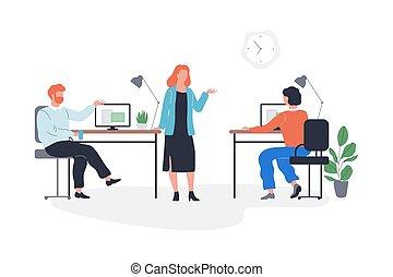 posiedzenie, drużyna, handlowy, meeting., ludzie, grupa