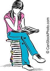 posiedzenie dziewczyna, nastolatek, ilustracja, czytanie książka