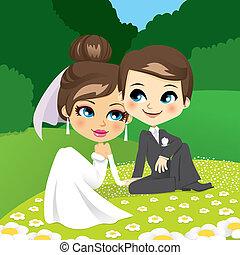 posiedzenie, newlyweds, ogród