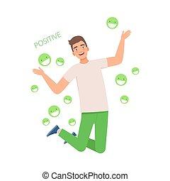 positive., joy., napis, wektor, illustration., skokowy, człowiek
