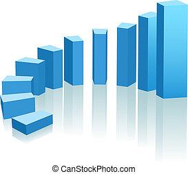 postęp, wzrost, łuk, wykres, zwyżkowy