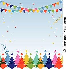 postcard., wesoły, rok, nowy, boże narodzenie, szczęśliwy