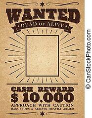 poszukiwany, poster., rocznik wina, outlaw., zmarły, zbrodnia, wektor, western, nagroda, chorągiew, albo, żywy, retro