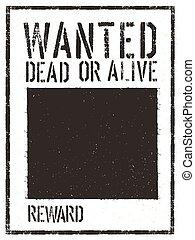 poszukiwany, poster., rocznik wina, wektor, western, szablon, sędziwy