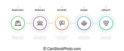 potok, infographic., krok, handlowy, graficzny, projekt, szablon, chorągiew, strategy., wektor, prezentacja, informacja, wykres, projektować, proces, workflow