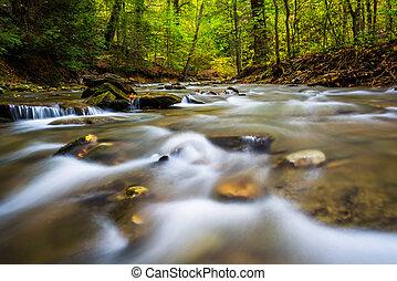 potok, lancaster, tucquan, dolina górska, hrabstwo, pensylwania, kaskady