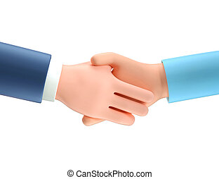 potrząsanie, ludzki, ilustracja handlowa, partnership., transakcja, kontrakt, rysunek, pojęcie, porozumienie, 3d, hands., pomyślny, handshake.
