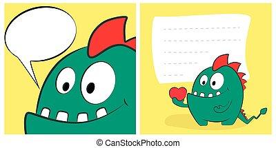 potwór, bilety, list miłosny, smok, rysunek, mowa, serce, bubble., dzień, szczęśliwy, sprytny