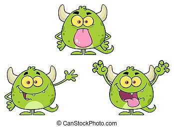 potwór, character., zbiór, zielony, rysunek, emoji