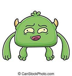 potwór, chochlik, rysunek, niezgrabny, zielony