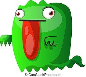 potwór, cielna, ilustracja, wektor, zielone tło, język, biały czerwony