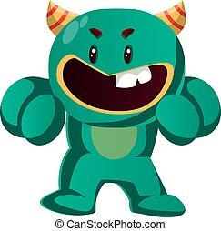 potwór, gniewny, ilustracja, walka, wektor, zielony, gotowy
