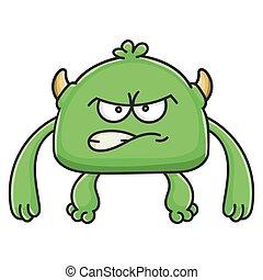 potwór, gniewny, rysunek, chochlik, zielony