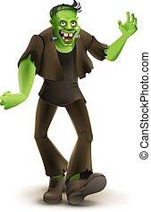 potwór, halloween, zielony, idzie, frankenstein, partia, rysunek