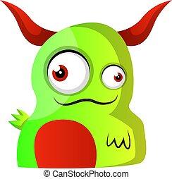 potwór, ilustracja, wektor, zielone tło, rogi, biały czerwony