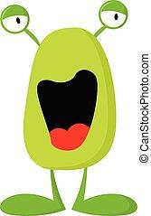 potwór, kolor, ilustracja, wektor, zielony, albo, szczęśliwy