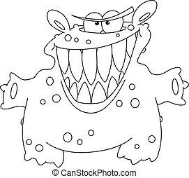 potwór, konturowany, śmiech