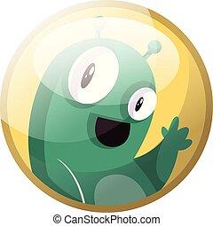 potwór, litera, ilustracja, rysunek, falować, tło., wektor, zielony, żółty, biały okrążają