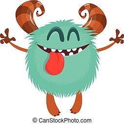 potwór, litera, rysunek, wektor, cielna, ilustracje, zabawny, horns.