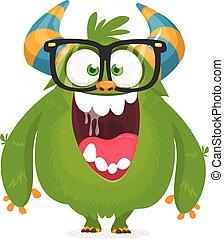 potwór, nerd, rysunek, ilustracja, chodząc, wektor, glasses., zielony, odizolowany