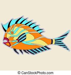 potwór, płetwy, kolczasty, tony, pomarańcza, gruby, fish