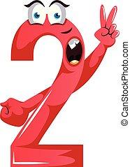 potwór, pokój, liczba, ilustracja, dwa, formułować, wektor, tło, biały, znak, czerwony