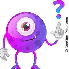 potwór, purpurowy, pytanie, ilustracja, znak, wektor, tło, biały