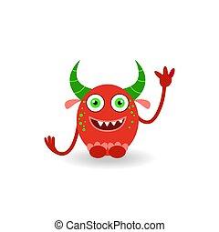 potwór, rogaty, śmiech, zabawny, rysunek, odizolowany, biały czerwony