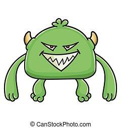 potwór, rysunek, chochlik, zły, zielony