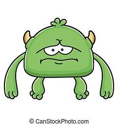 potwór, rysunek, chochlik, zielony, smutny
