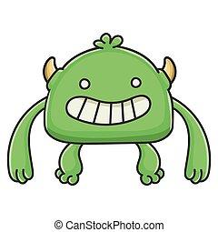 potwór, rysunek, chochlik, zielony, szczęśliwy