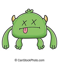 potwór, rysunek, chochlik, zielony, zmarły