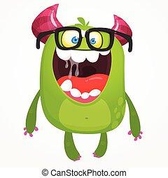 potwór, rysunek, ilustracja, kanon, wektor, chodząc, chochlik, zielony, wiosło, glasses., albo, cudzoziemiec, nerd, odizolowany
