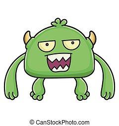 potwór, rysunek, obłąkany, chochlik, zielony