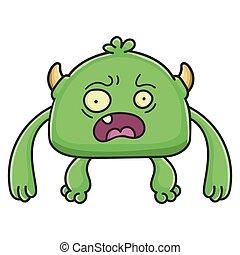 potwór, rysunek, wylękniony, chochlik, zielony