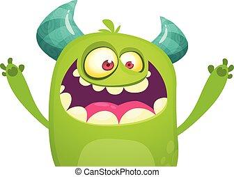 potwór, rysunek, zielony, wrzaskliwy