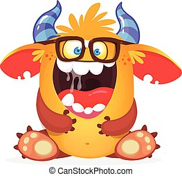 potwór, sprytny, rysunek, ilustracja, wektor, eyeglasses.